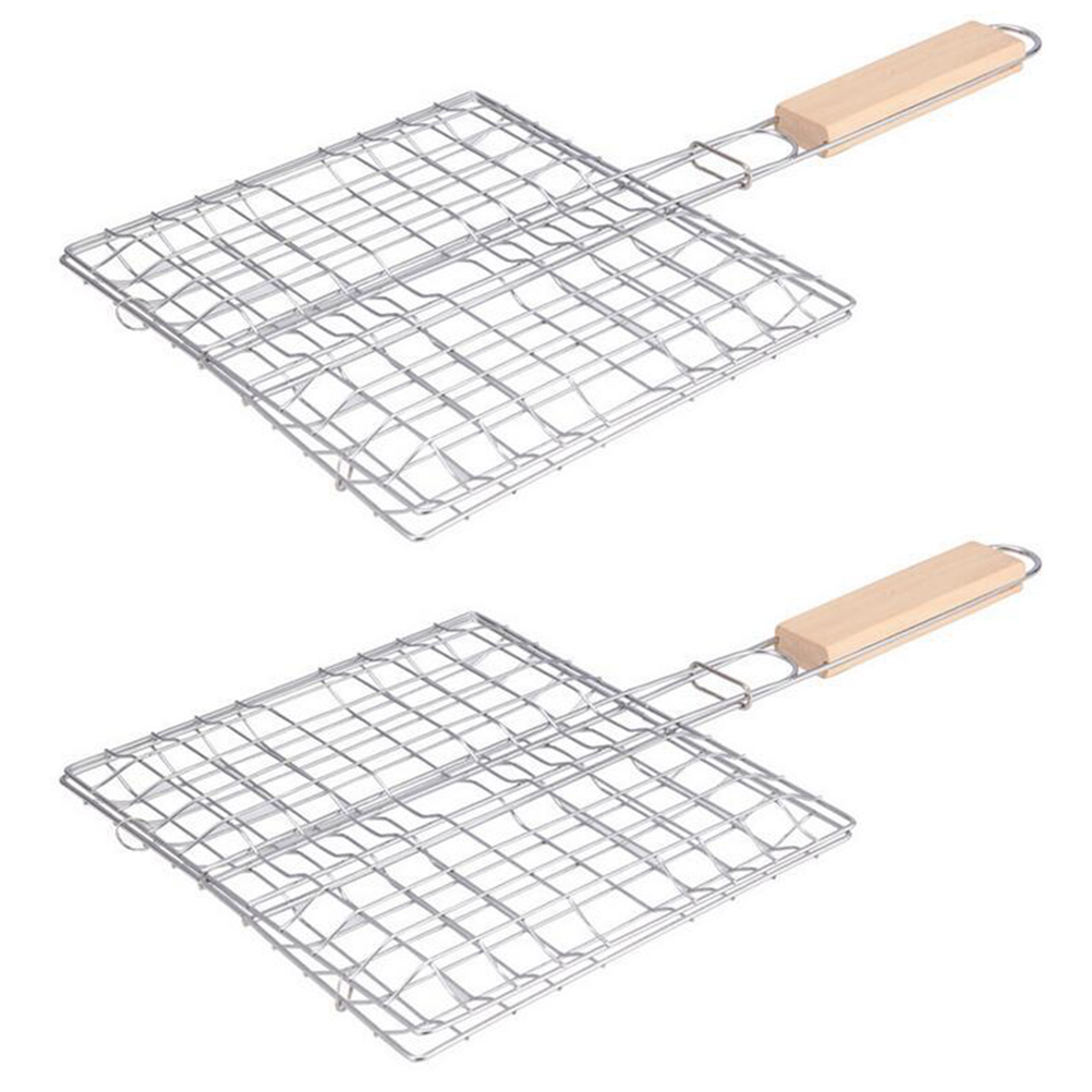2PCS Stainless Steel Barbecue Net Practical Square Foldable Barbecue Grill with Wooden Handle for Picnic Outdoor BBQ