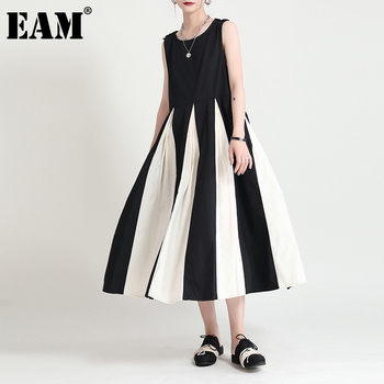 [EAM] Women Black Contrast Color Long Dress New Round Neck Sleevelesss Loose Fit Fashion Tide Spring Summmer 2021 1DD7669 1
