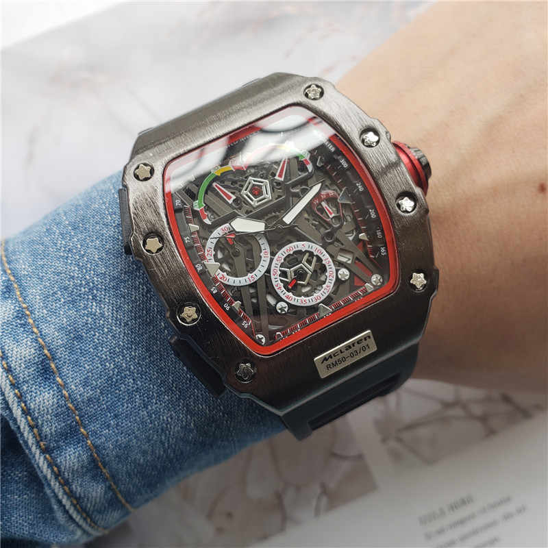 Fashion Casual Men's Silicone Quartz Watch Luxury Hollowed Sports Watch Male Clock Super Big Square Dial Watch Great Gift New