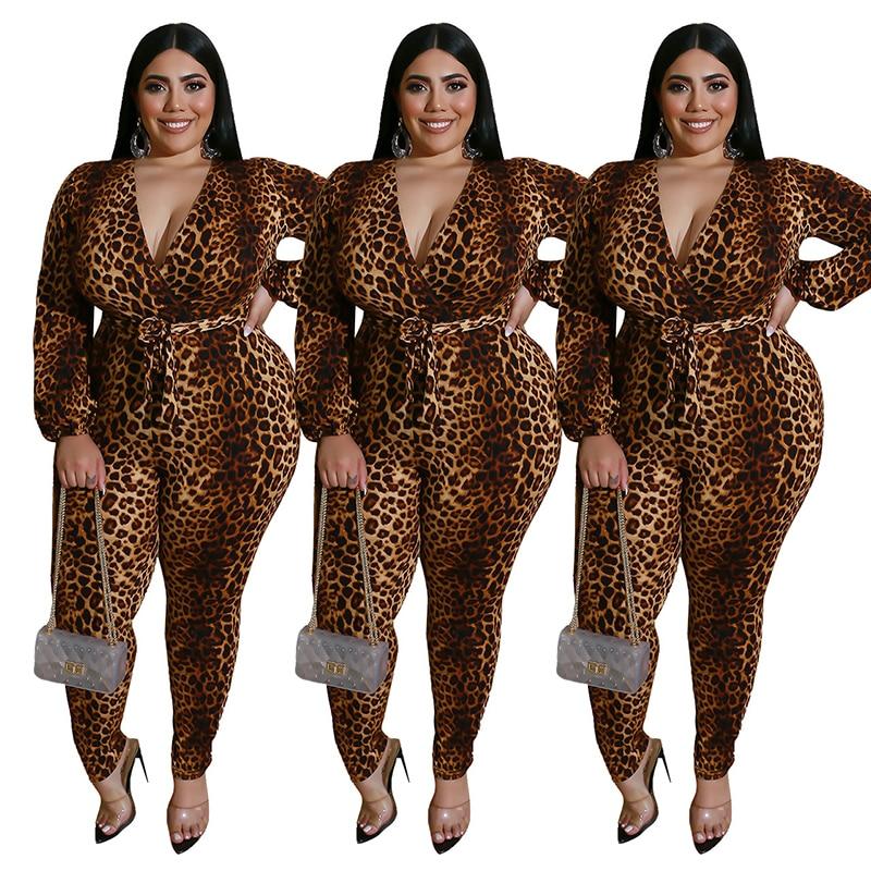 Autumn Women Jumpsuit Office Lady Plus Size Jumpsuit With Lace-up Belt V-neck Leopard Jumpsuits Slim Fitting Wholesale Dropship