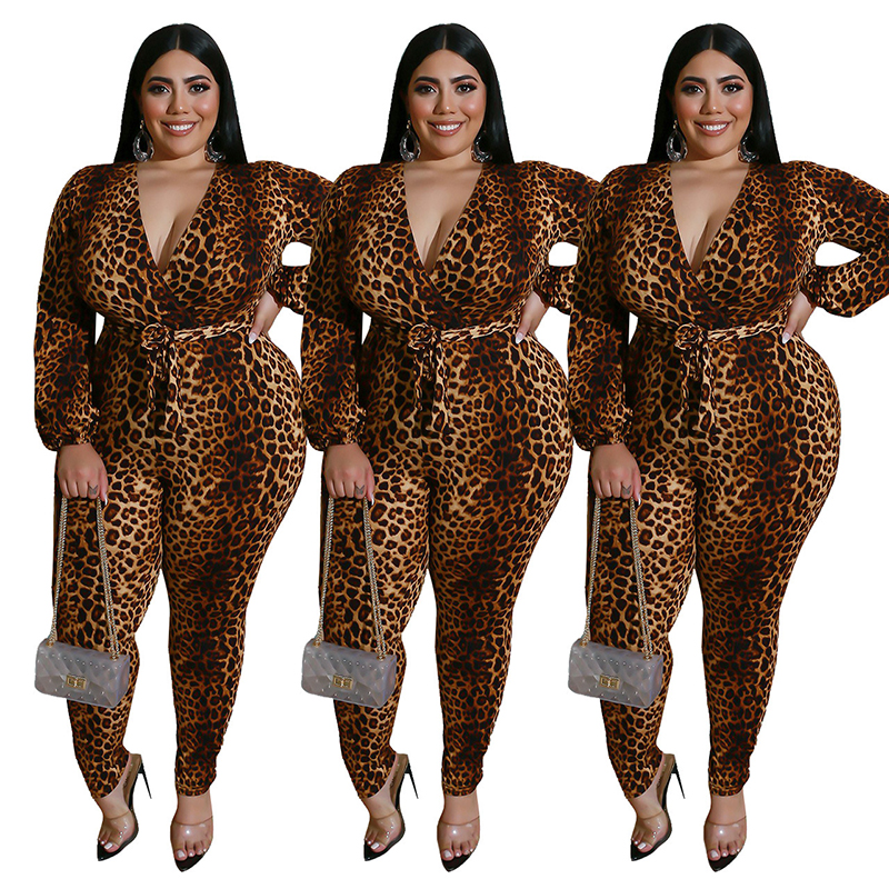Herbst Frauen Overall Büro Dame Plus Größe Overall mit Spitze-up Gürtel V-ausschnitt Leopard Overalls Schlank Fitting Großhandel Dropship