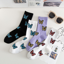 Nowe skarpetki motylkowe damskie Streetwear Harajuku załogi damskie skarpetki moda ue rozmiar 35-40 dostawa Dropshipping tanie tanio SONDR CN (pochodzenie) COTTON spandex STANDARD Na co dzień Zwierząt Butterfly Crew Colorful One size(EU 35-40) Woman Breathable sweat absorbing