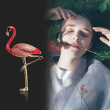 Cartoon Flamingo Brooches Unisex Women and Men Brooch Pin Bird Animal Broches Fashion Dress Coat Accessories creativity fashion animal alloy coat cartoon brooch