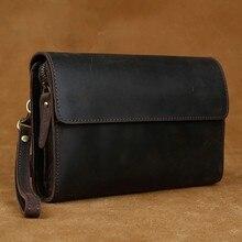 Luufan-cartera de embrague de cuero genuino para hombre, billetera con cremallera grande, tarjetero, billetera de mano con Cinturón de piel de vaca para teléfono