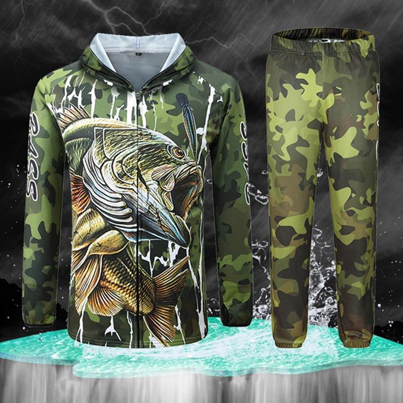 M-4XL Professional Fishing Clothes Anti-UV Ice Fishing Hooded Clothing Set Sun Protection Long Sleeve Shirt Camouflage Pants