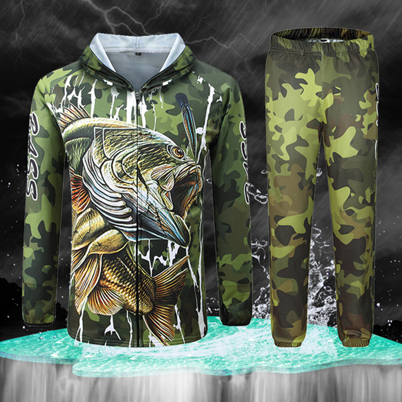 Professional Fishing Clothes UV Ice Silk Hooded Clothing Sun Protection Shirt Long Sleeve Bass Fish Ropa Camouflage Pants M- 4XL