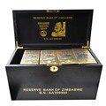 Ouro Zimbabwe Nota Dinheiro 1200pcs com o Zimbabwe Banknote 100 Quntillion Caixa de Dinheiro Falso Contas De Madeira para Presentes Festival