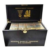 Zimbabwe Gold Banknote 100 Quntillion Note Money 1200pcs with Zimbabwe Wooden Box Fake Money Bills for Festival Gifts