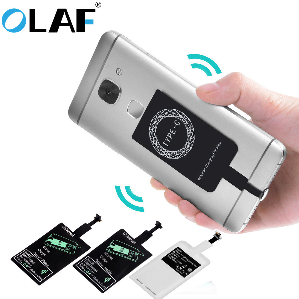 Модуль для беспроводного зарядного устройства Olaf, на заднюю сторону смартфона, разъем Micro-USB, USB type-C, Lightning
