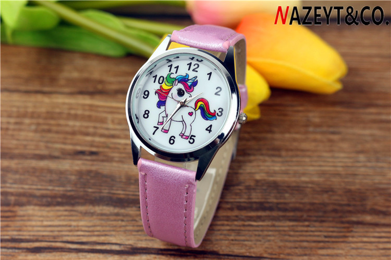 2019 New Cute Children Cartoon Cartoon Unicorn Skin With Quartz Watch Student Gift Belt Wristwatch Girl Watch