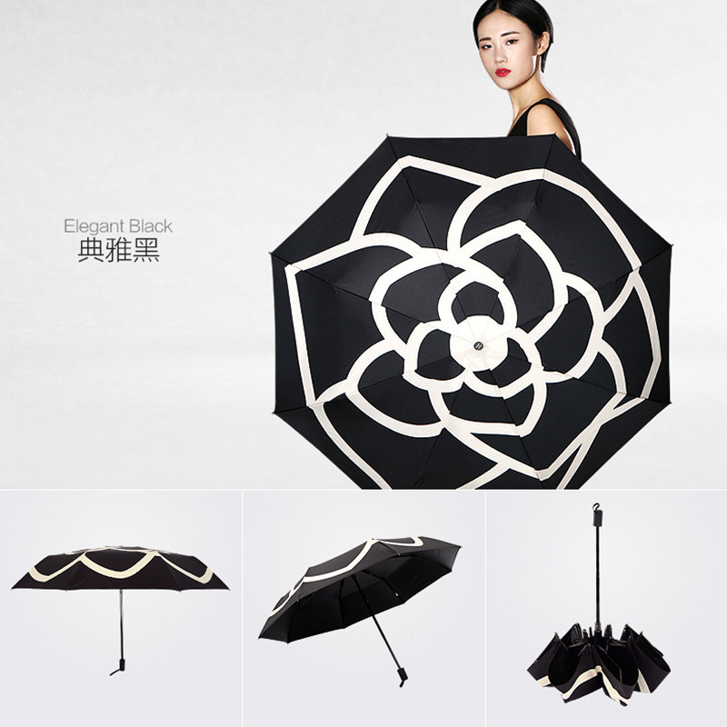 Personalized & Creative Camellia Dual Purpose Manual Umbrella Outdoor Vinyl Rubber Handle Umbrella Jing College Style Three-fold
