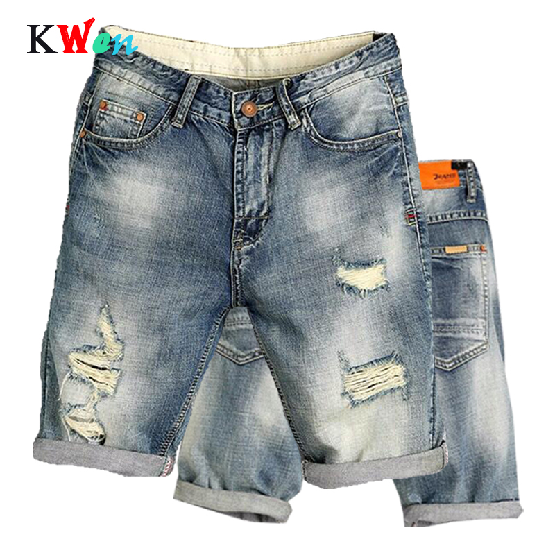New Fashion Leisure Mens Ripped Short Jeans Brand Clothing Summer Shorts Breathable Tearing Denim Jogger Shorts Male