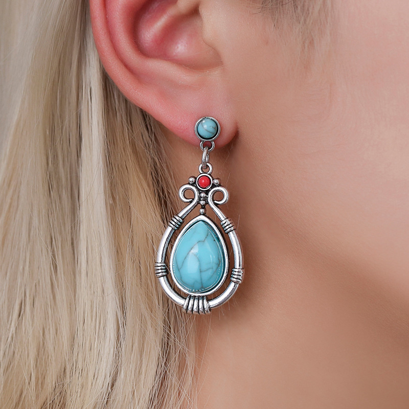 Modyle Fashion Vintage Tibetan Silver Natural Turquoises Earring Blue Stone Water Droplets Dangle Earrings for Women Boho