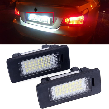 LED License Plate Light Error Free Led Rear Plate Lamp Bulb 12V for BMW E39 E60 E61 E82 E90 E91 E92 E93 X5 X6 image
