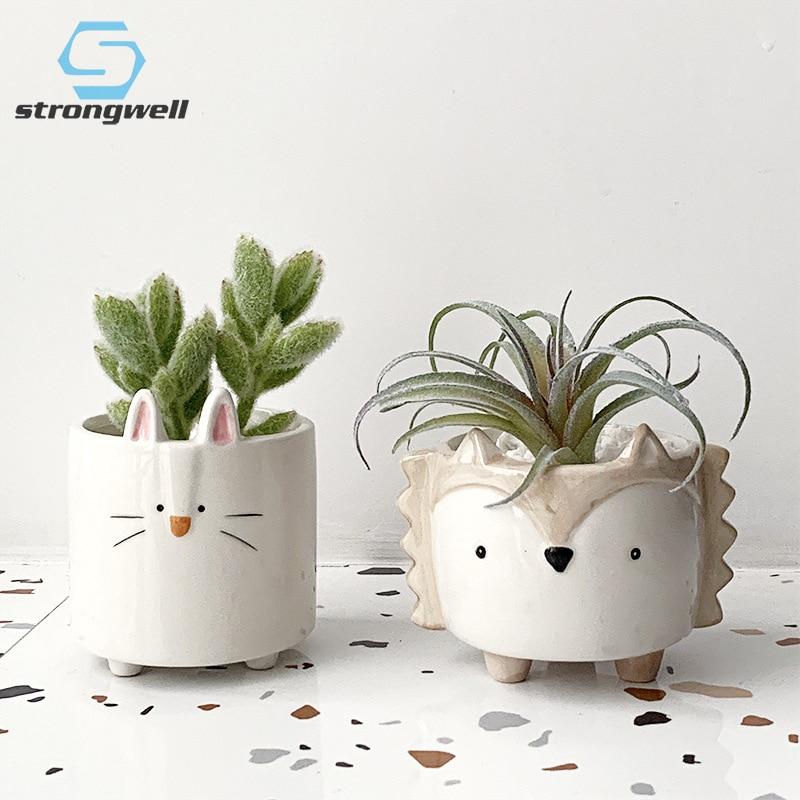 Strongwell Succulent Ceramic Flowerpot Hedgehog Puppy Cute Animal Flower Pot Creative Mini Garden Bedroom Desktop Birthday Gift