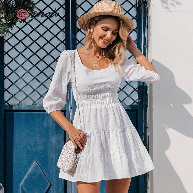 Conmoto Vestido corto informal de mujer, Vestido corto blanco con cuello cuadrado Vintage y cintura alta para playa y vacaciones, minivestido de señora con mangas abullonadas