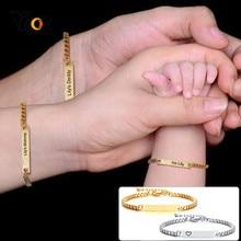 Vnox-Pulseras personalizadas de acero inoxidable para bebés, papá, mamá, familiares, antialergias, ajustables, Giflt