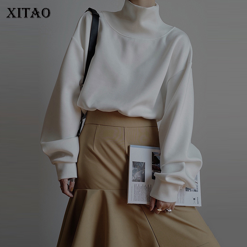 XITAO Simple Personality Sweatshirt Women Long Sleeve Turtleneck Women Top Wild Plus Size Drawstring Women Clothes 2020 WJ1052 1