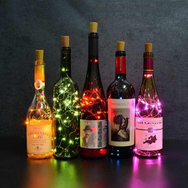 Guirnalda de luces LED de 2M con cable de cobre, guirnaldas de luces de corcho para botellas de vino, decoración de Navidad, San Valentín o boda