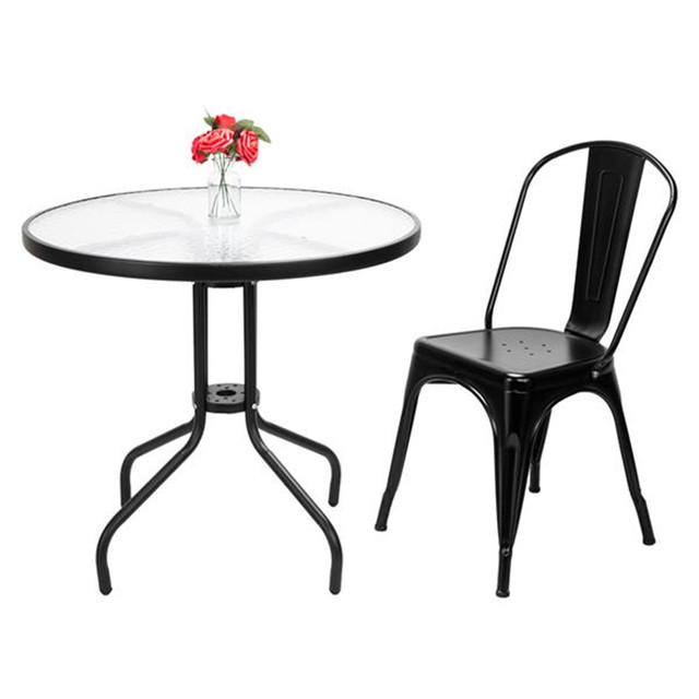 4pcs Industrial Style Iron Sheet Chair Black for Restaurants Pubs Cafes And Multiplayer Gatherings Dining chair 5