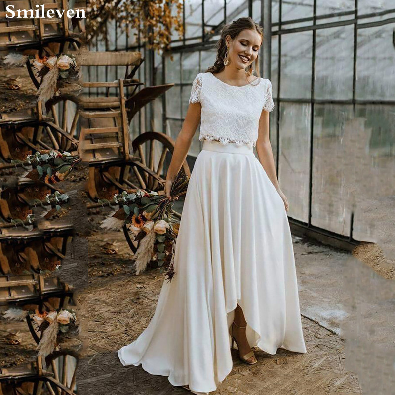 Smileven Boho Wedding Dresses 2 Pieces High Low Lace Appliques Wedding Bridal Gowns Short Sleeve vestido de noiva