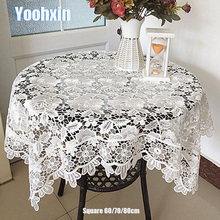 Luxury white lace cotton square Tablecloth embroidery kitchen tea flower Table Cover cloth dining Christmas party Wedding decor new white lace cotton crochet tablecloth coffee table cloth mat round tea table cover dining christmas xmas party wedding decor