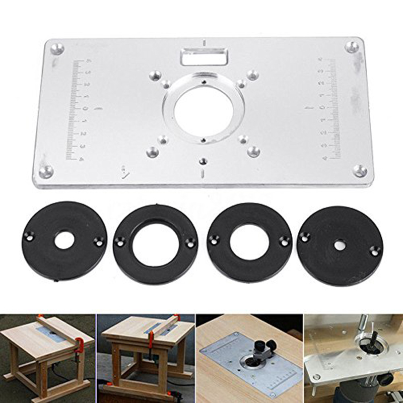 Router Table Insert Plate Aluminum Silver Board Trimming Machine Flip Board For Woodworking, 235x120x8mm + 4 Rings Screws