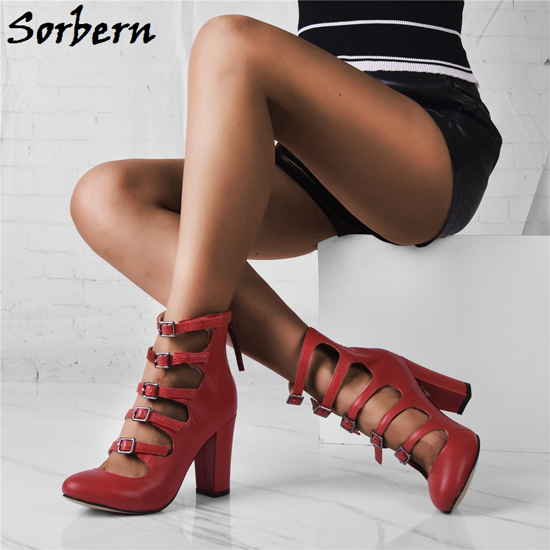 Sorbern Red Women Pumps Shoes Buckle Strap Square Heels Zapatos De Mujer Designer Shoes Women Luxury 2019 New Arrive