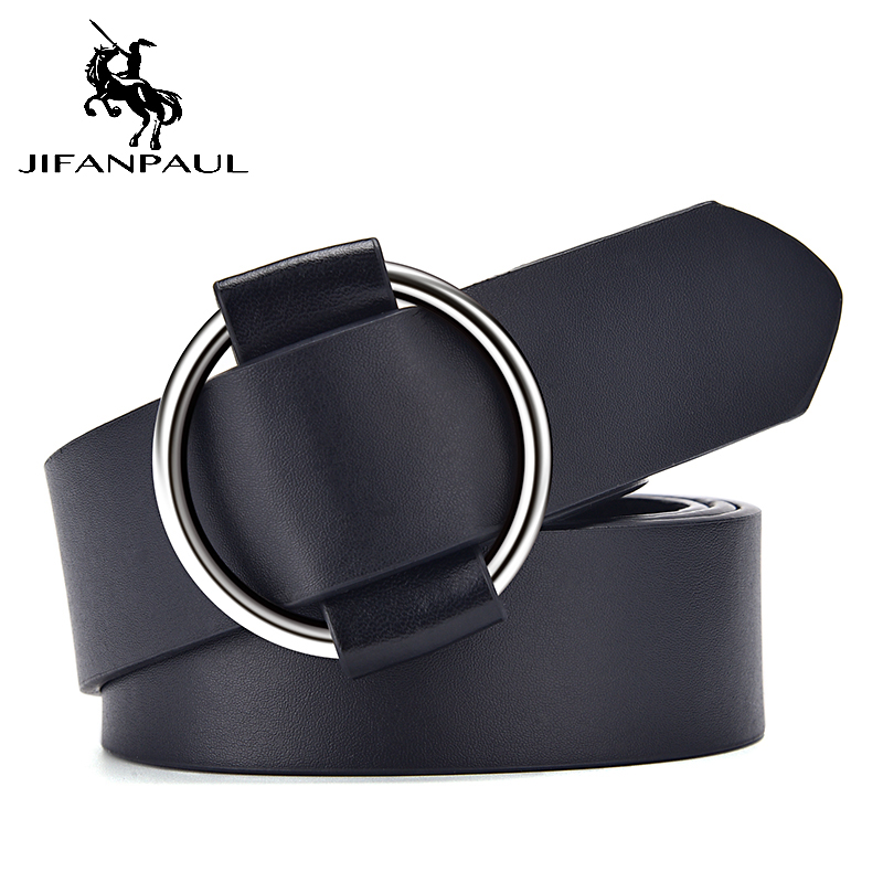 JIFANPAUL Women's High Quality Fashion Needle-free Round Hole Alloy Buckle Jeans With Ladies Retro Student Belt Free Shipping