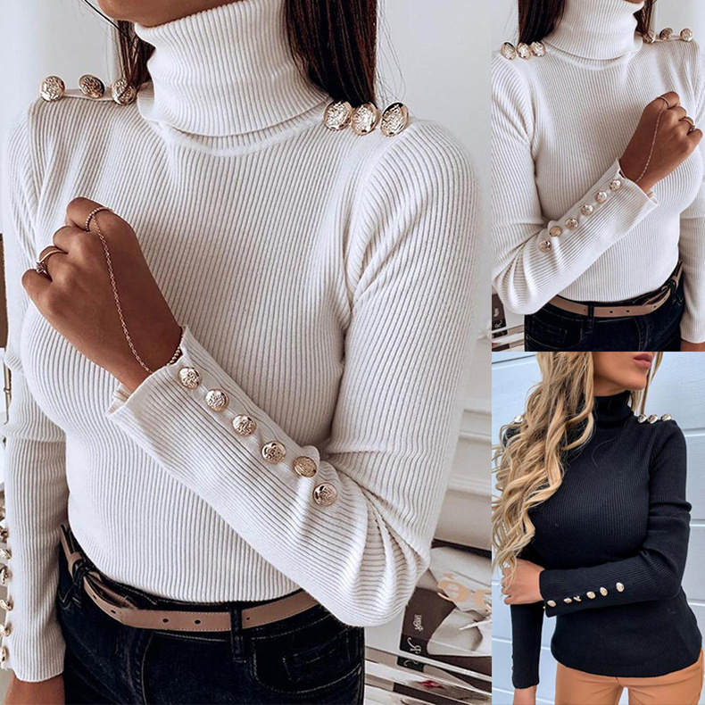 Hot Sweater Girl Highneck Woollen Sweater Cuff Button Long Sleeve Shirt Autumn Winter Slim Fit Knitted Basic Tops Tee Clothes