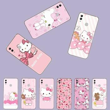 Hola Kitty gato rosa de impresión de cubierta de la caja del teléfono de Shell para Huawei Honor 7C 7A 8X 8A 9 10 10i Lite 20 NOVA 3i 3e