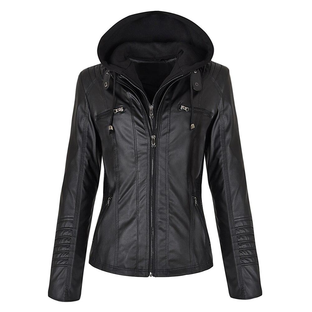 Faux Leather Jacket Women Hoodies Gothic Motorbike Basic PU Jacket Coats Outerwear Hooded Zipper Waterproof Ladies Coat 5
