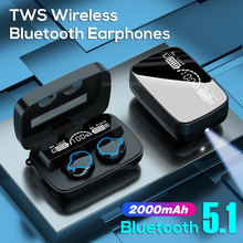 SACEC PSENS TWS Sport Bluetooth 5.1 Wireless Mirror Earphones With Charging Box Waterproof 9D HD Stereo Touch Control Earbuds
