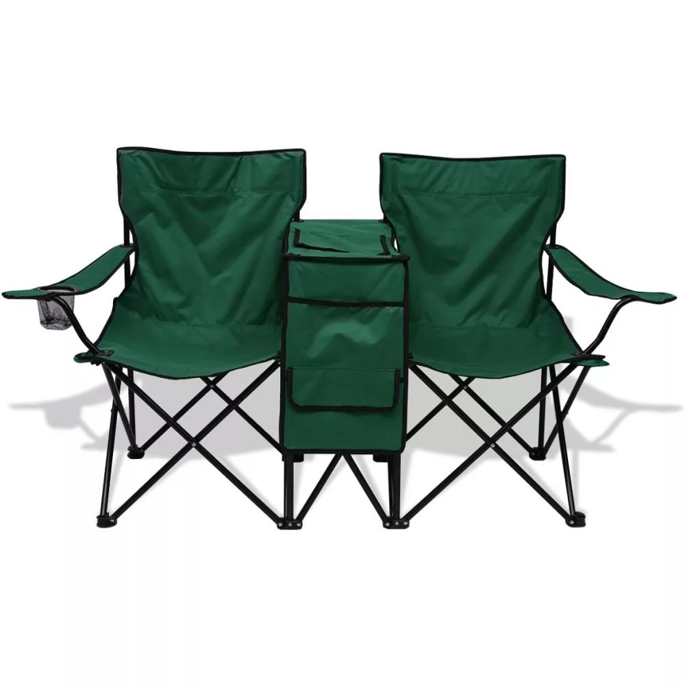 VidaXL Double Camping Portable Folding Chair With Storage Function Outdoor Furniture Travel Folding Chairs New
