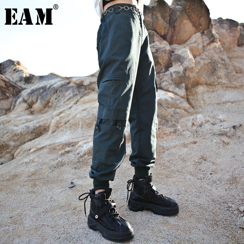 [EAM] High Elastic Waist Pocket Causal Trousers New Loose Fit Pants Women Fashion Tide All-match Spring Autumn 2019 1A950