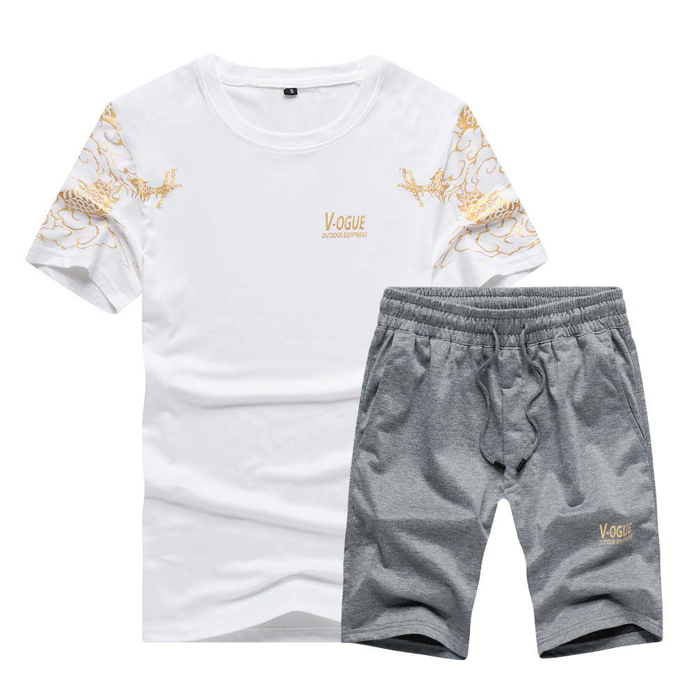 US/Euro Size High Quality Men Set Shirt Men Shorts 2pcs Suit For Fitness Men Sportswear T-shirts Sets Camisa Hombre Shorts S-2XL