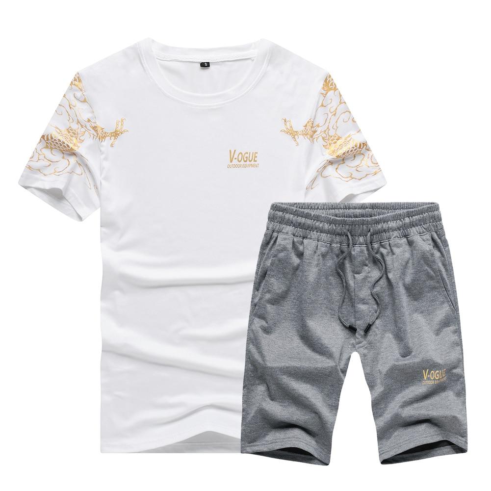US/Euro Size High Quality Men Set Shirt Men Shorts 2pcs Suit For Fitness Men Sportswear T-shirts Sets Camisa Hombre Shorts S-2XL