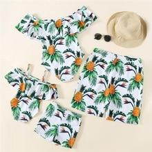Matching Outfits Swimwear Bikini Mommy Me And Boat Neck Pineapple