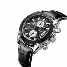 MEGIR Original Men Quartz Watch Reloj Hombre Leather Business Watches Man Clock Chronograph Army Military Sport Male 2020