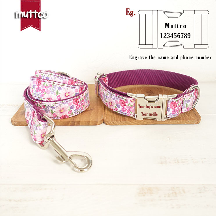 MUTTCO top quality handmade purple floral unique style pet collar dog leads chain rope pets products dogs collars leashes set in Leashes from Home Garden