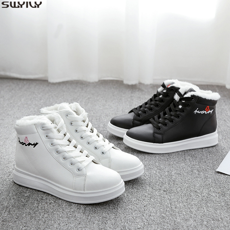 SWYIVY PU Solid Casual Shoes Women Sneakers 2019 New Winter Shoes White Sneakers For Women Short Plush Ladies Shoe Breathable