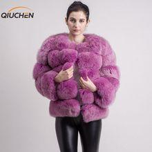 QIUCHEN PJ8081 новая модель женская шуба из натурального Лисьего меха с длинным рукавом модная меховая одежда Высокое качество Женское зимнее пальто