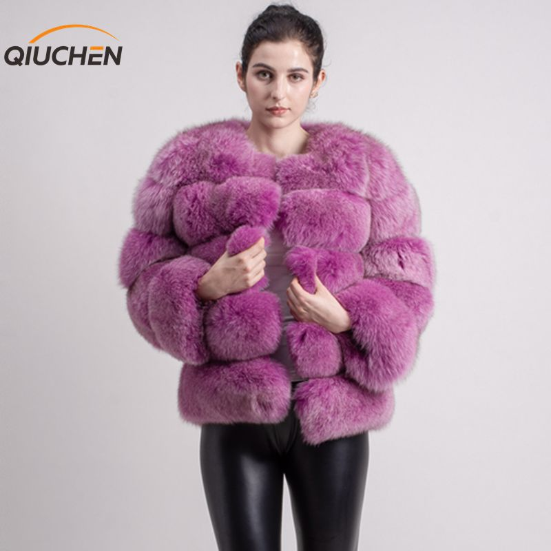 QIUCHEN PJ8081 2019 New Model Women Real Fox Fur Coat Long Sleeves Fashion Fur Outfit High Quality Women Winter Coat