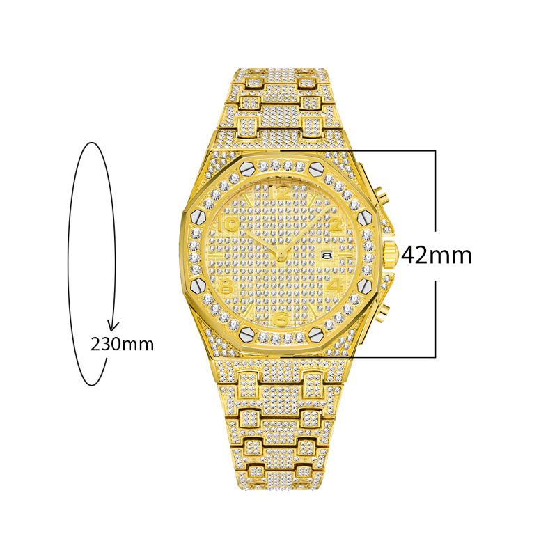 luxury mens business watches full diamonds ice out watch hip hop quartz watch for men 18k gold plated waterproof auto date male clock man drop shipping for shopify 2020 (24)