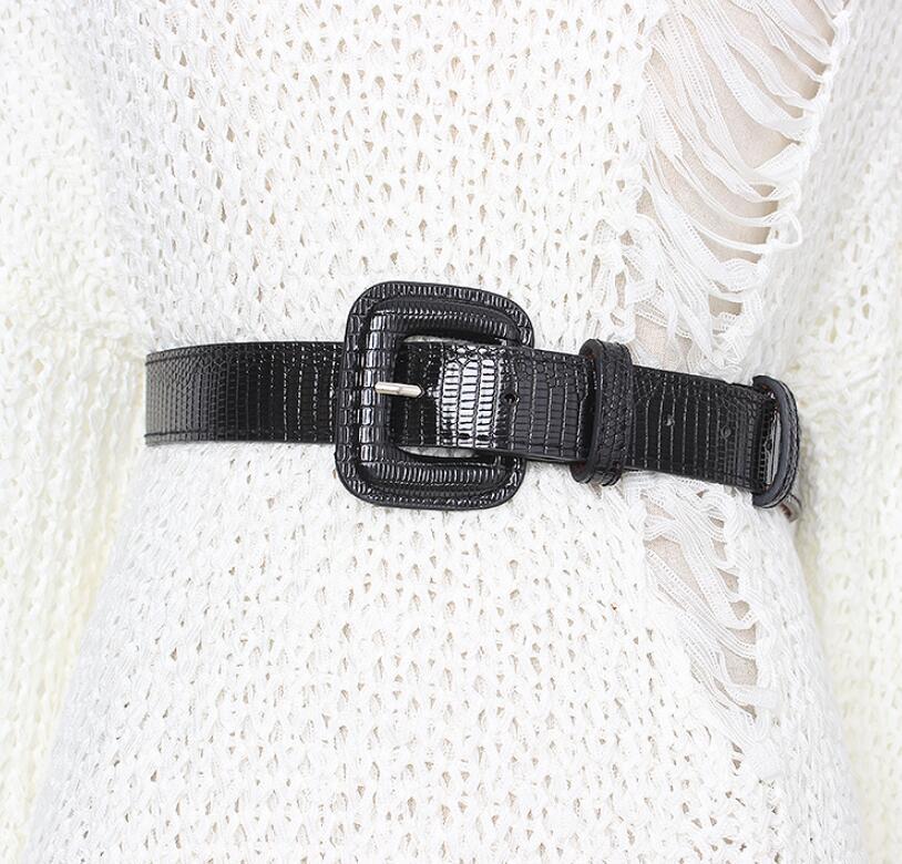 Women's Runway Fashion  PU Leather Cummerbunds Female Dress Corsets Waistband Belts Decoration Wide Belt R1988