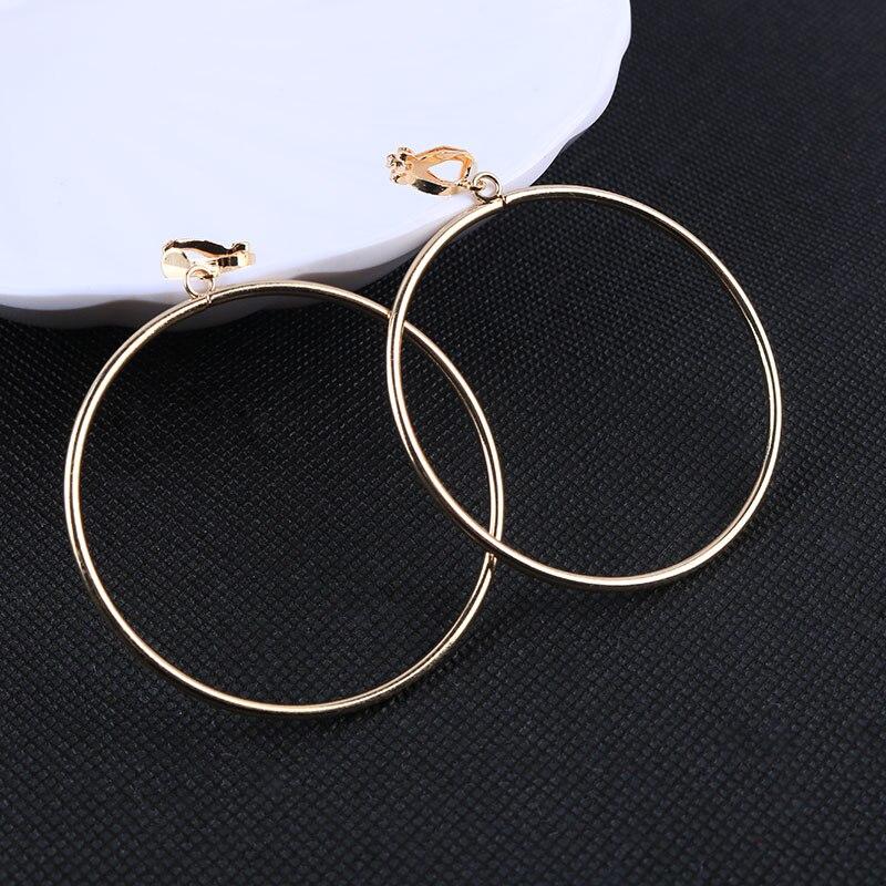 Геометрические круглые серьги-клипсы без пирсинга, металлические простые большие серьги без пирсинга, Женские Ювелирные изделия