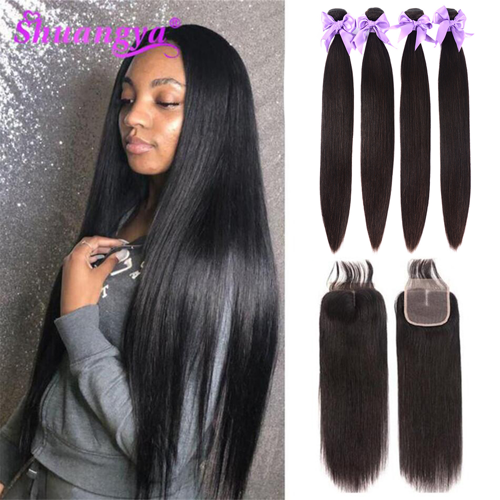 Brazilian Straight Hair Bundles With Closure 100% Human Hair Bundles With Closure 3/4 Bundles With Closure Remy Hair Extension
