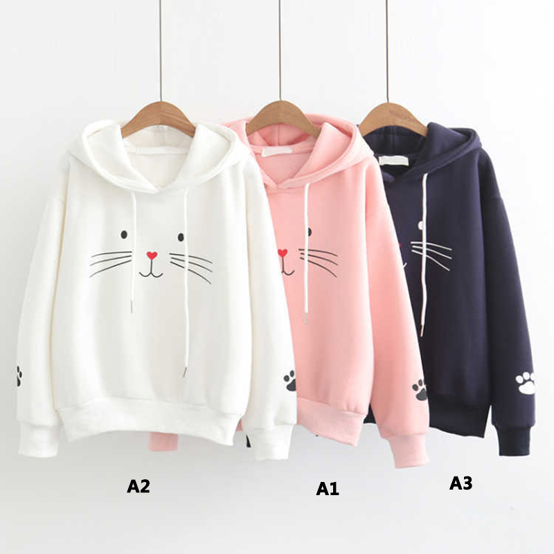 Women Hoodies Kawaii Cat Printed Long Sleeve Pullover Hoodie Cat Ears Sweatshirts