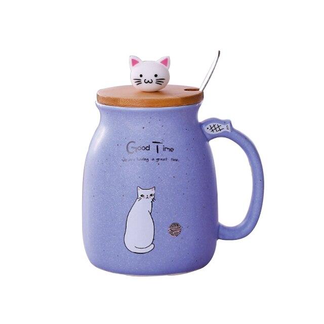 Cute Cat Mug With Spoon  1