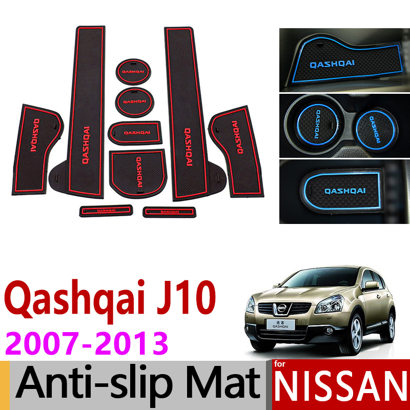 Anti-Slip Gate Slot Mats Rubber Cup Mat For Nissan Qashqai J10 2007-2013 Accessories Stickers 2007 2008 2009 2010 2011 2012 2013